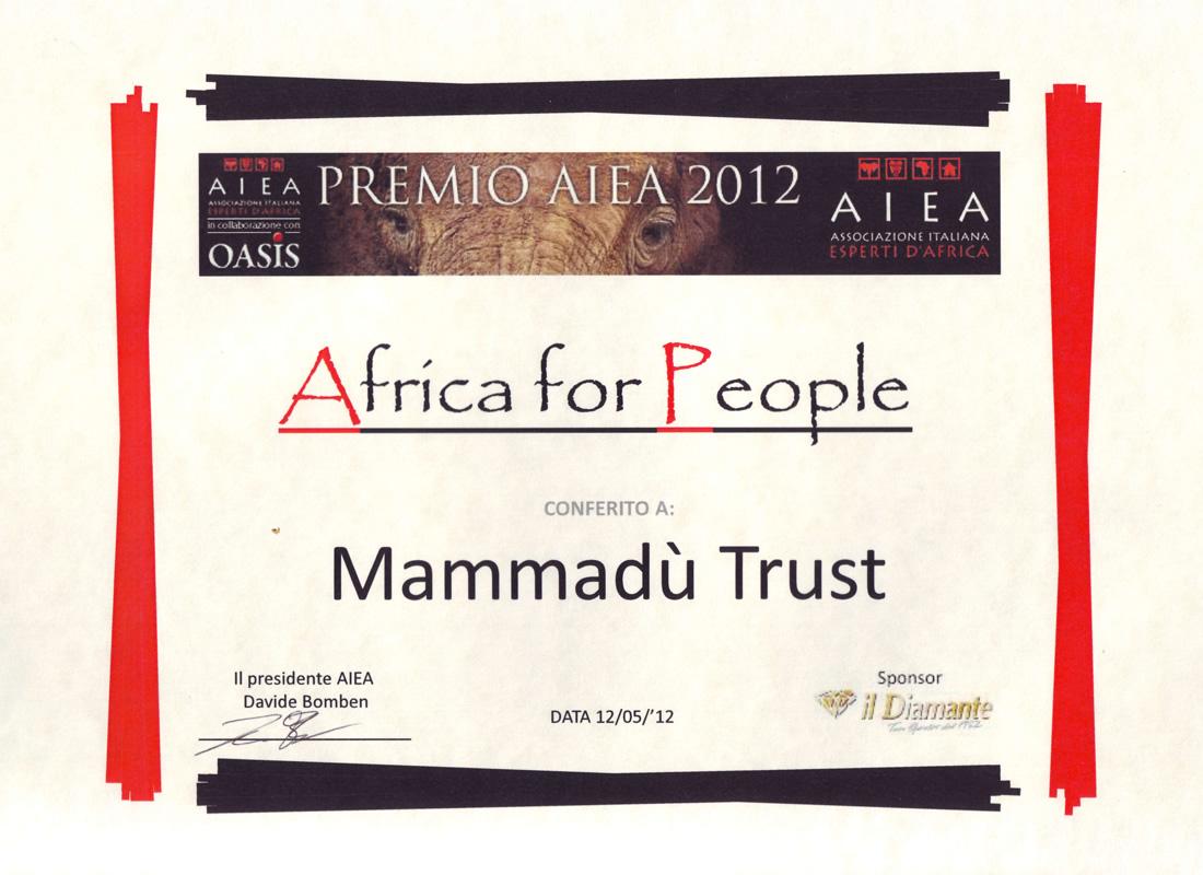 Mammadù Trust, il miglior progetto a sostegno di comunità africane - AIEA Premio Africa For People 2012